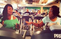 Erica and her friend hang out at the gym.