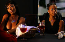Gallery image from movie. The girls have a drink at the club.